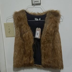 Jean bourget brown fur vest 12a nwtgrorge